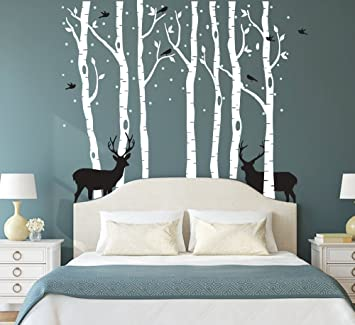 Fymural Forest And Deers Tree Wall Stickers Art Mural Wallpaper For Bedroom Kid Baby Nursery Vinyl Removable Diy Decals 118 1x102 4 White Black