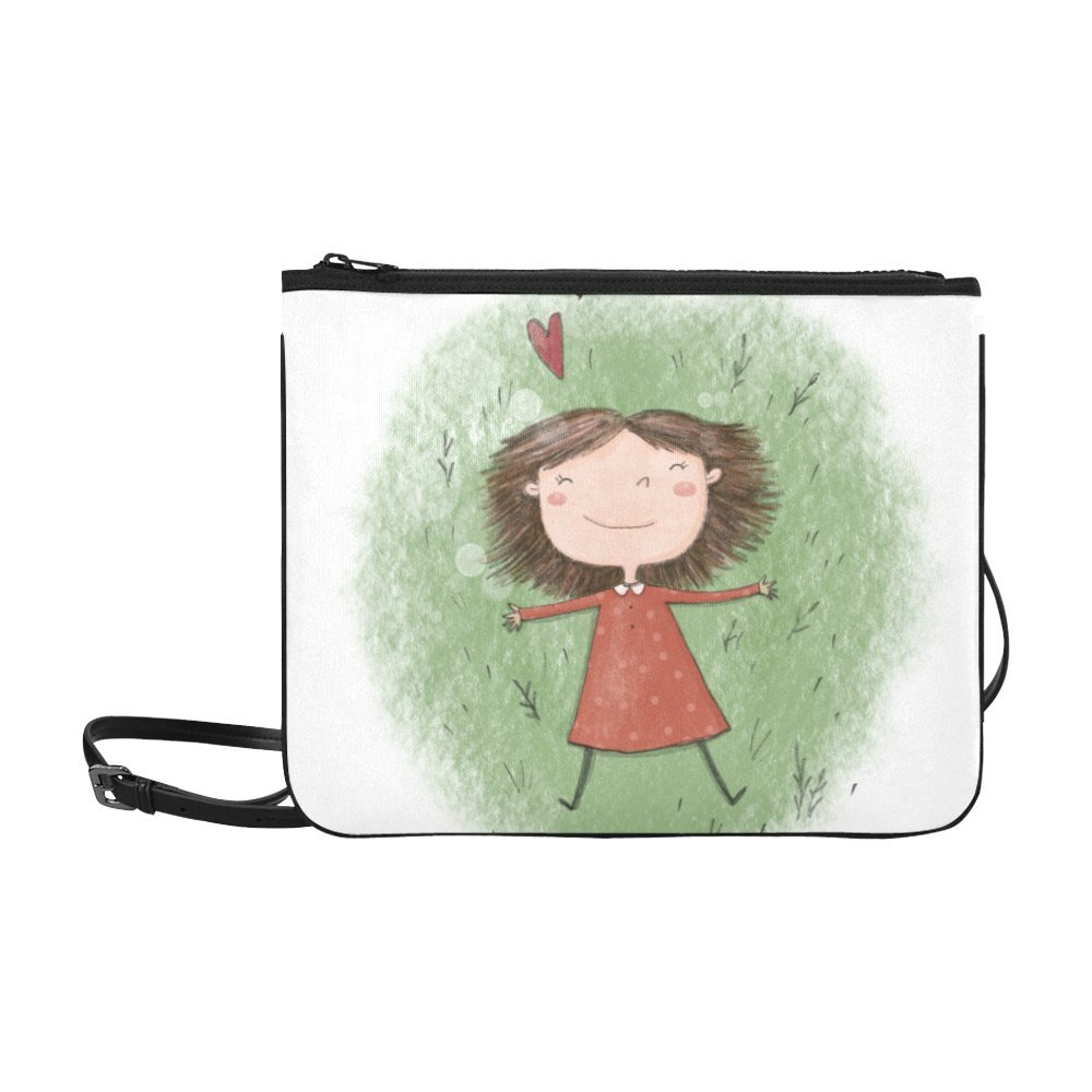 Silly Meow Cute Cartoon Little Girls Custom High-grade Nylon Slim Clutch Bag Cross-body bag Shoulder Bag