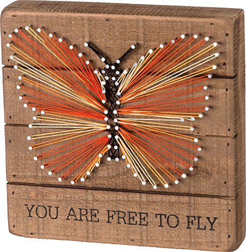 Primitives by Kathy String Art Wood Box Sign You Are Free To Fly 8