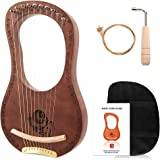 Lyre Harp, Vangoa 10 Steel String Solidwood Mahogany Lye Harp, Maple Bridge with Padded Carry Bag, Tuning Wrench, Extra String Set, Manual
