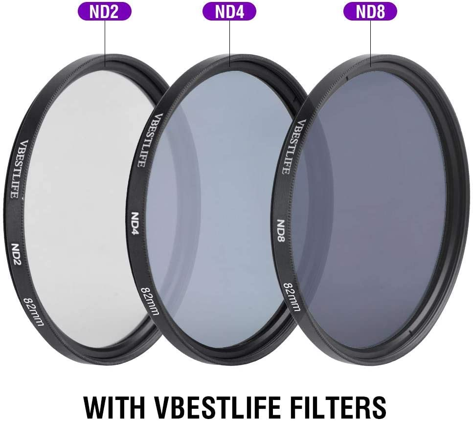 FLD 82mm ND2 Camera Lens Filter Set UV CPL ND4 ND8 Filter with Storage Bag and Lens Hood for SLR Camera