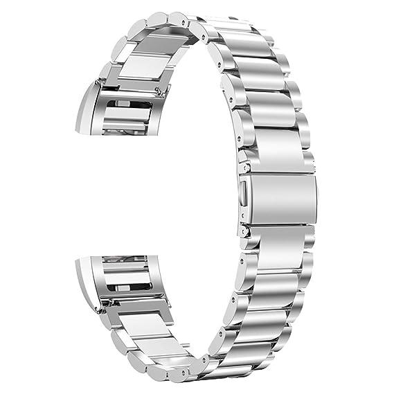 1227689c6df0 correa de banda de reloj refinado de metal de alta calidad para Fitbit  Charge 2 pulsera broche de plata de acero inoxidable  Amazon.es  Relojes