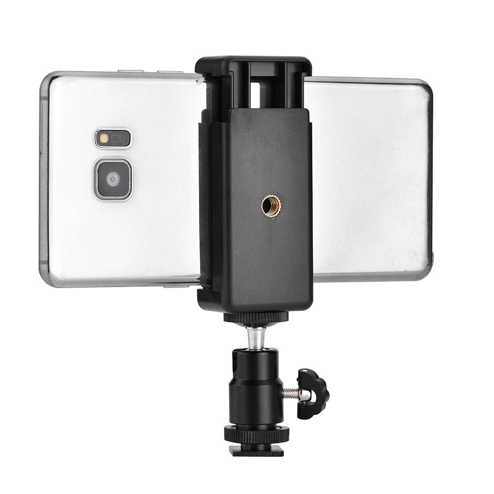 Asixx Phone Bracket Holder Clip Tripod Mount Adapter with 360 Ball Head Compatible with Multiple Phone Holder; Phone Clip; Phone Clip Mount; Phone Tripod Adapter; Phone Bracket Clip Clip Phone Mount