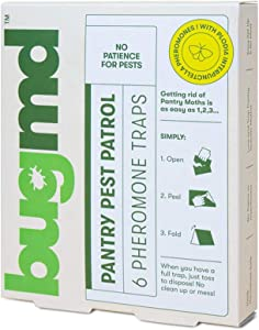 BugMD Pantry Moth Trap, Sticky Pest Patrol Strip with Pheromone Glue, for Pantry Kitchen Cabinets Food Storage