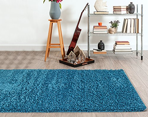 Adgo Chester Shaggy Collection Solid Design Vivid Color High Soft Pile Carpet Thick Plush Fluffy Furry Children Bedroom Living Dining Room Shag Floor Rug (5' x 7', S09 - Aqua) by ADGO