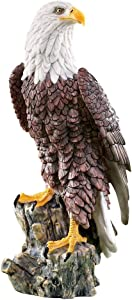 Collections Etc Magnificent Bald Eagle on Stump Garden Statue, Outdoor Decorative Figurine for Yard or Garden