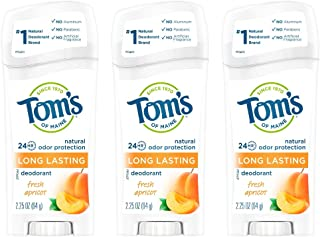 product image for Tom's of Maine Long-Lasting Natural Deodorant, Aluminum Free Deodorant, Deodorant for Women, Fresh Apricot, 2.25 Ounce, 3-Pack