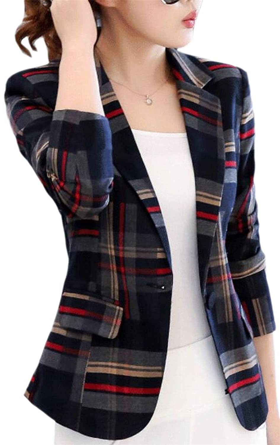 ainr Women Long Sleeve Lapel Plaid OL One Button Blazer Suit Jacket Coat
