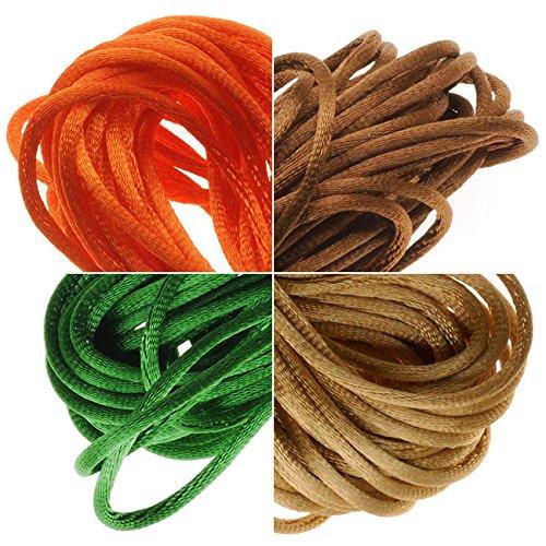 Beadaholique Satin Rattail Cord 1mm Earthtone Mix 4 Color 6 Yd Ea - Orange, Gold, Olive, Dark Tan