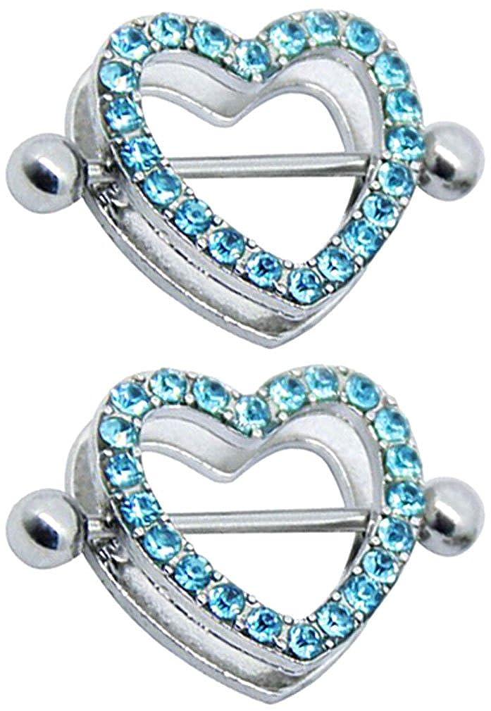 a67ff46bfa709a Amazon.com: 21secret Cute 2PCS Stainless Steel Straight Bar Shield Blue  Rhinestones Love Heart Nipple Rings: Jewelry