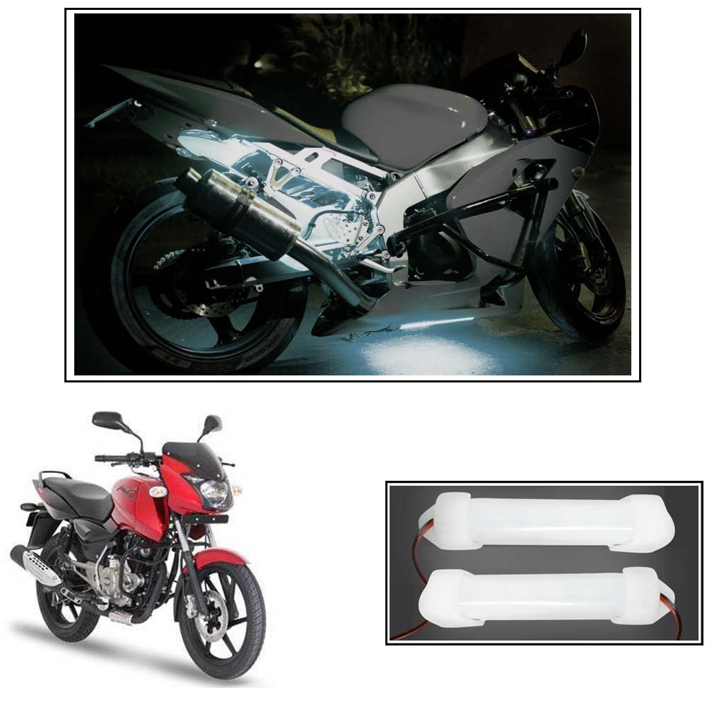 Vheelocityin 10cm Neon Bike Light White 2pc For Bajaj Pulsar 150