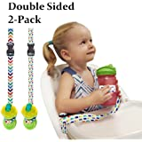 The Original Double Sided Cup/Bottle Strap. The Only Multipurpose Reversible & 2 Sided Sippy Cup Strap for High Chairs, Strollers, Bikes. Leash Secures Sports Bottles, Baby Bottles, Toys