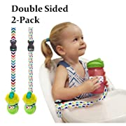 The Original Double Sided Cup/Bottle Strap. BONUS TOY STRAP. The Only Multipurpose Reversible & 2 Sided Sippy Cup Strap for High Chairs, Strollers, Bikes. Leash for Sports Bottles, Baby Bottles.