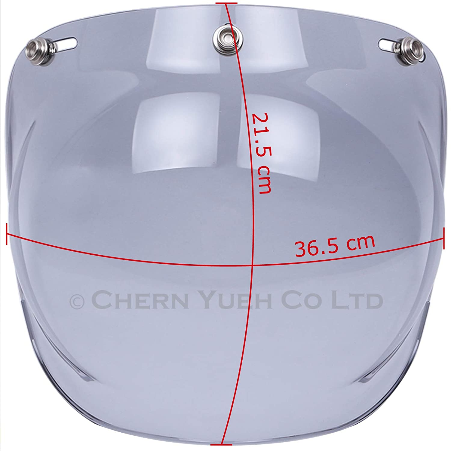 7638ecf0 Amazon.com: Chern Yueh Motorcycle Helmet Bubble Shield with Flip Adapter  for 3-Snap Half Open Face Helmets (Light Smoke): Automotive