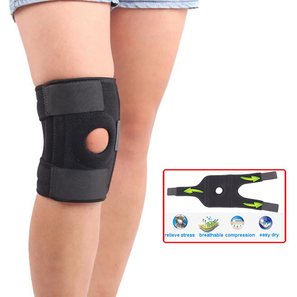 Enshey Adjustable Knee Support Brace Knee Wrap Band Knee Pain Relief for Swollen Tendon, Ligament and Meniscus Injuries for Left or Right Knee
