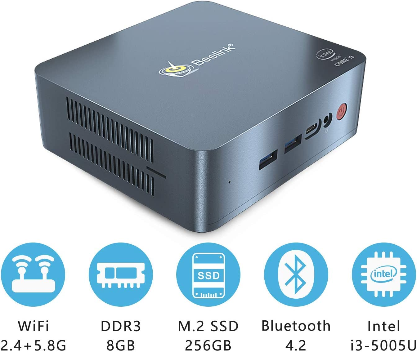 HSYPC Beelink L55 Mini PC, procesador Intel i3-5005U, 8 GB/256 GB ...