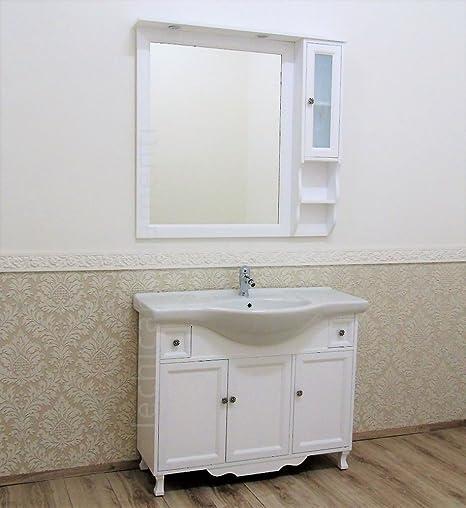 Arredo bagno shabby chic 105/85 cm bianco opaco mobile bagno con ...