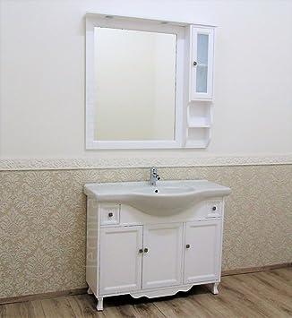 Badezimmer Shabby Chic 105/85 cm weiß matt Badmöbel mit ...