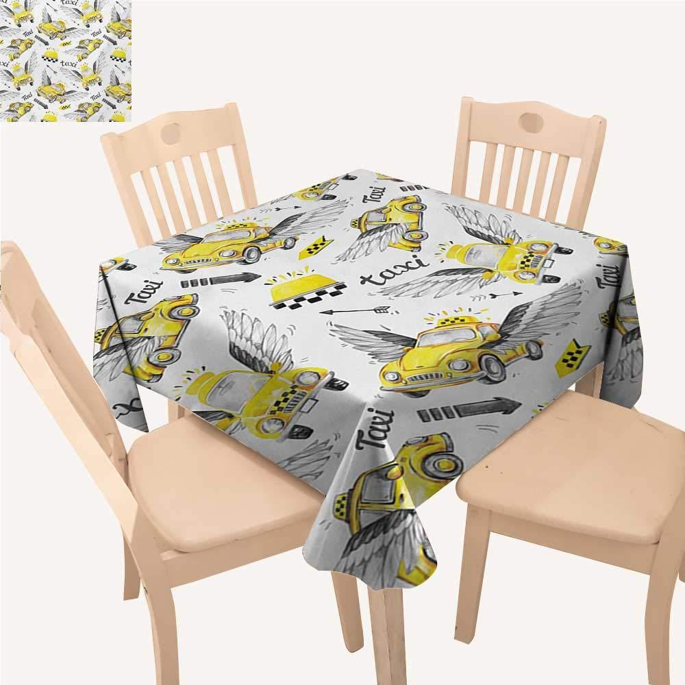 Angoueleven 車用布製テーブルクロス 鮮やか かわいい 子供 描画 車 運転 道路 交通 都会をテーマにしたデザイン スモール テーブルクロス マルチカラー W 70