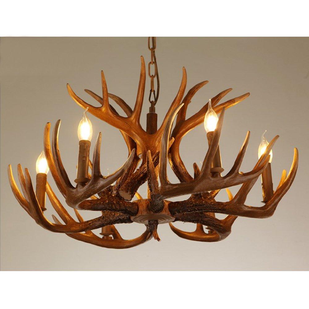 Pendant Light , Sanguinesunny LED Ceiling Lamp E12 E14 x 4 Creative Resin Antlers American Style Mount Lighting 21.65'' for Dining Room,Living Room,Hotel 110V-220V
