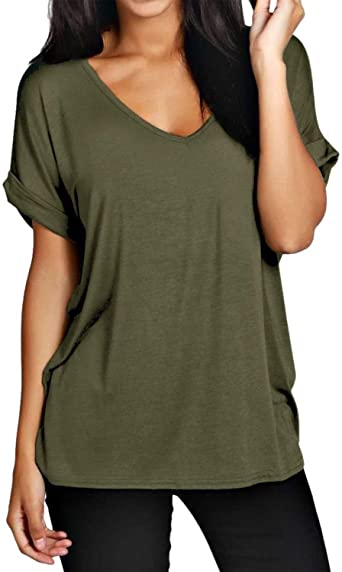 Womens T Shirt Ladies Casual Blouse Plus Size Tops Summer O Neck Turn Up Batwing