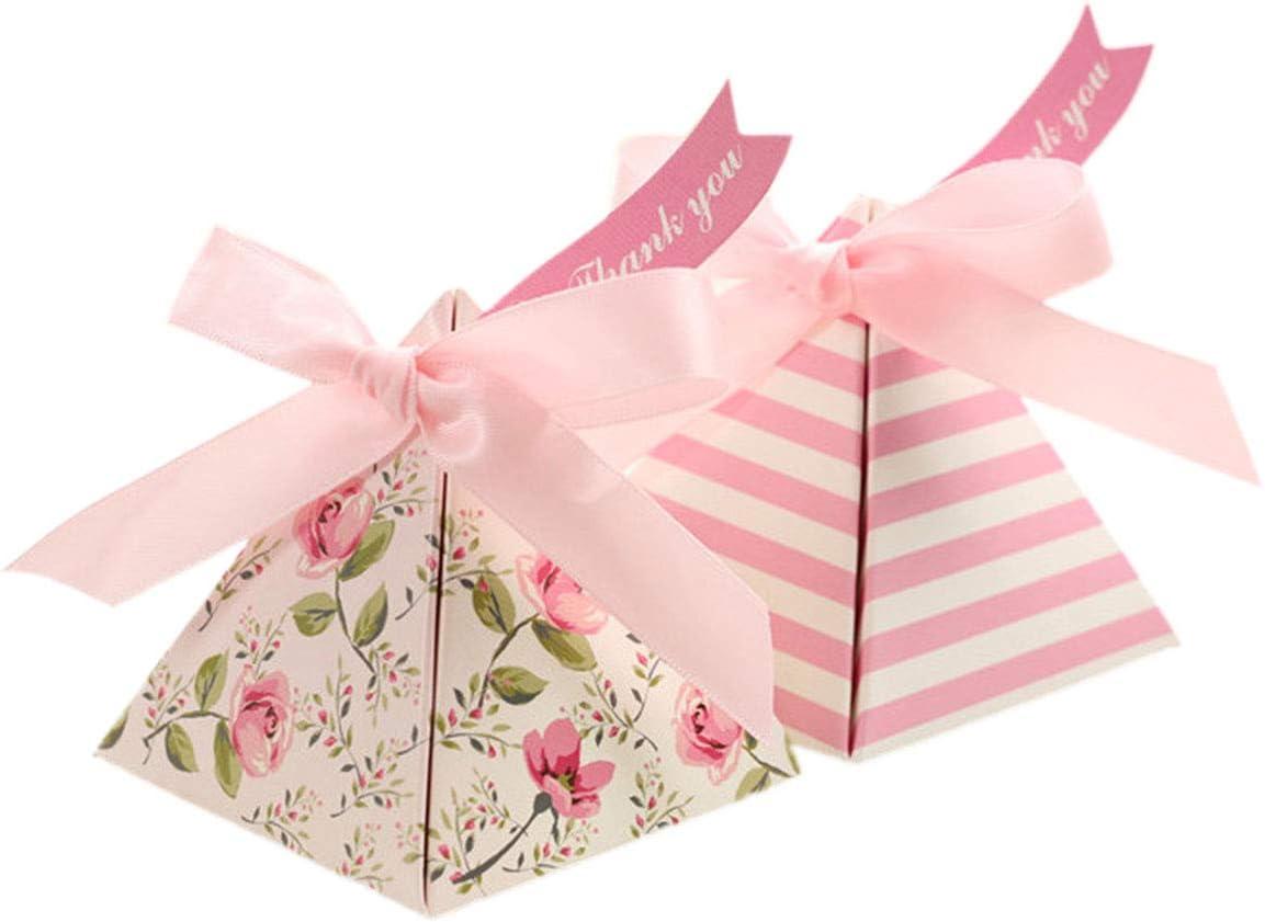 Toyvian 25 St/ück Hochzeit Geschenkboxen Dreieck Candy Boxen Blume Papier Kasten f/ür Hochzeit Babyparty Geburtstag Rosa