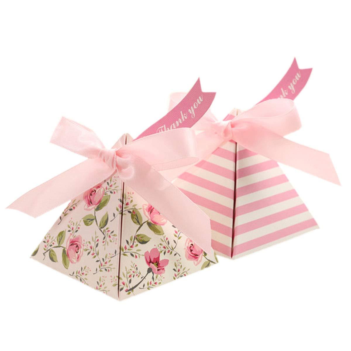 Toyvian Contenitore di Regalo di Carta Rosa del Triangolo della Scatola di Candy di Nozze per Il Festival della Festa Nuziale (Rosa, con i Nastri e Le Carte) - 25pcs