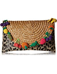 Fruit and Leopard Straw Clutch