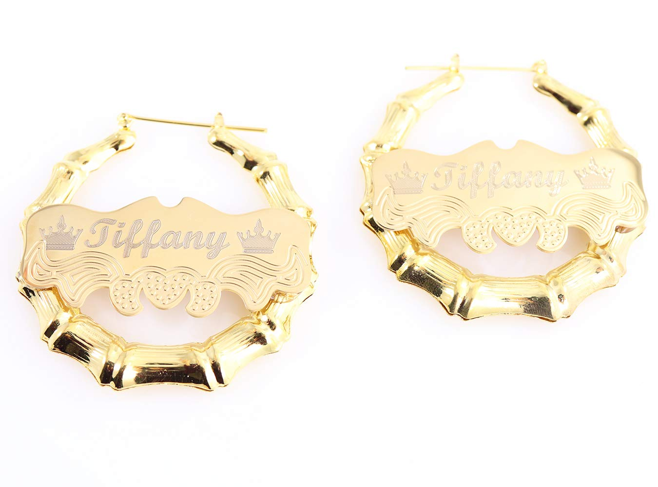 Custom Personalized Gold plated Hoop Name Bamboo Earrings 2.0'' Custom Made with Any Names by Tina&Co
