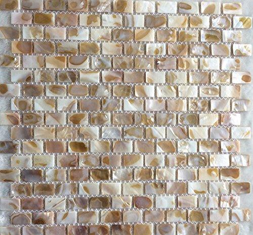 AFSJ Genuine Mother of Pearl Mosaic Tile For Bathroom/Kitchen/Wall Backsplash (Brick Iridescent 6 - Iridescent Tile Bathroom