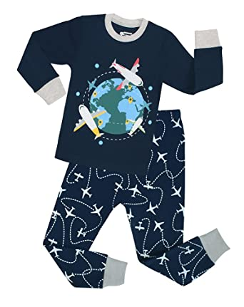 Big Boys Airplane Pajamas 100% Cotton 2 Piece Children Sleepwear Clothes Set (Blue,