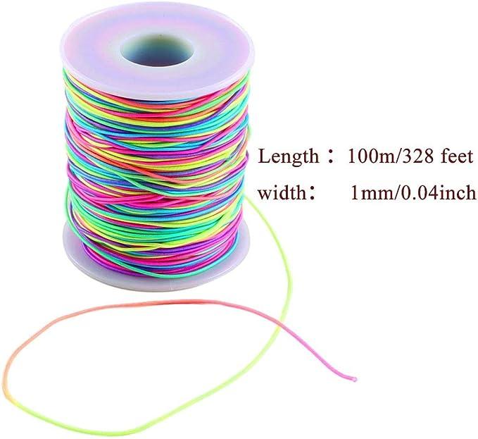 1mm Rainbow Elastic Cord Beading Thread Stretch String for Bracelet Making 109 Yard
