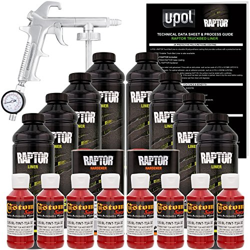 U-POL Raptor Hot Rod Red Urethane Spray-On Truck Bed Liner Kit w/ FREE Spray Gun, 8 Liters