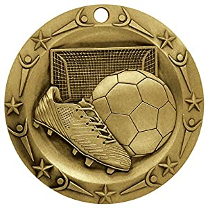 "Gold WORLD CLASS SOCCER MEDAL - 3"" Wide Strong Metal - Comes with Stars & Stripes American Flag V-Neck Ribbon (GOLD)"