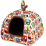 Winter Pet Dog Cat Cartoon Printing Waterproof Tent Bed Nest House (L(Length 50cm Width 50cm Height 40cm), Yellow)