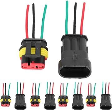 5 Kits 3 Pin Auto Wasserdichte Elektrische Stecker Draht Steckverbindung für KFZ
