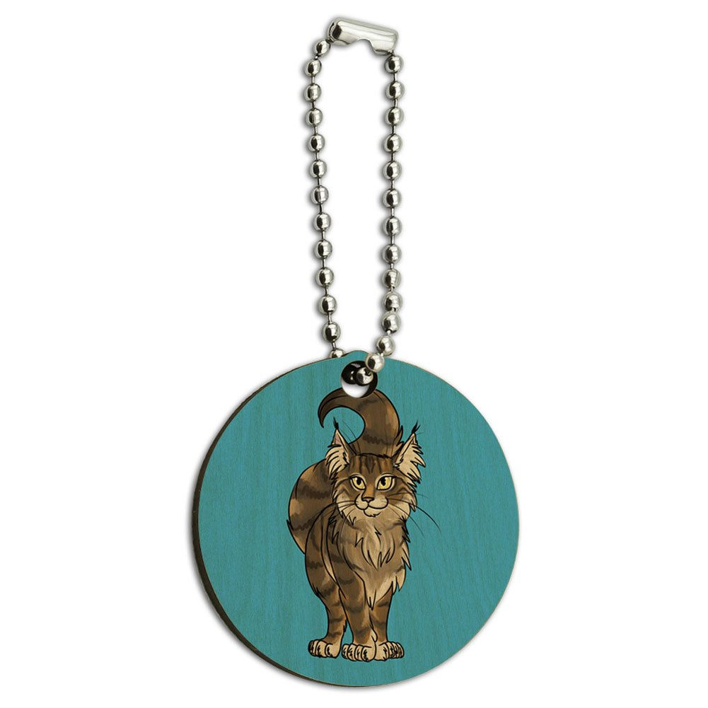 Maine Coon Cat Pet Wood Wooden Round Key Chain