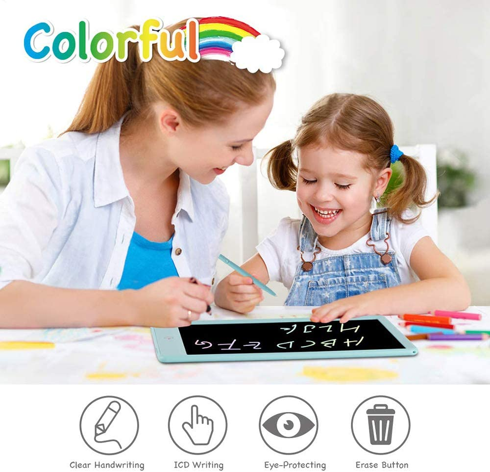 Adults Blue Colorful 8.5 Inch LCD Message Board Handwriting Pad E-Write Drawing Graffiti Board with Stylus for Kids LCD Writing Tablet Portable Erasable Ewriter for Business Office Home School