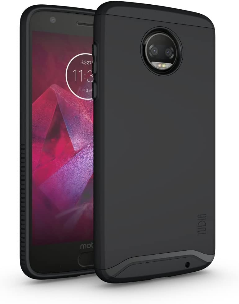 TUDIA Dual Layer Fit Designed for Motorola Moto Z2 Force Case, [Merge] Rugged Hard Back Heavy Duty Slim Protective Phone Case for Moto Z2 Force (Matte Black)
