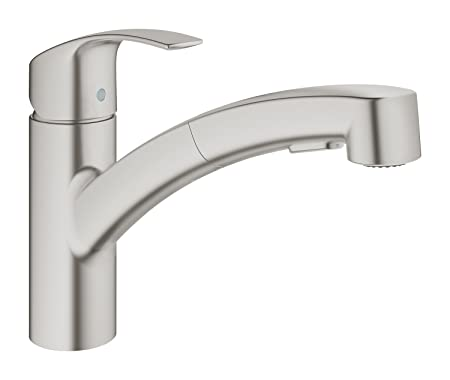 GROHE Eurosmart pull-out single-lever sink mixer, kitchen tap with ...
