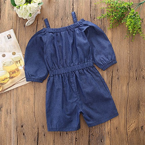 Pinleck Toddler Little Girls Cami Strap Denim Jumpsuit Summer Long Sleeve Overall Outfit by Pinleck (Image #3)