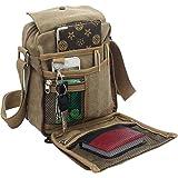 Men's Canvas Small Messenger Bag Casual Shoulder Bag Chest Bag Travel Carry Bag,Multi-Pocket Purse Handbag Crossbody…
