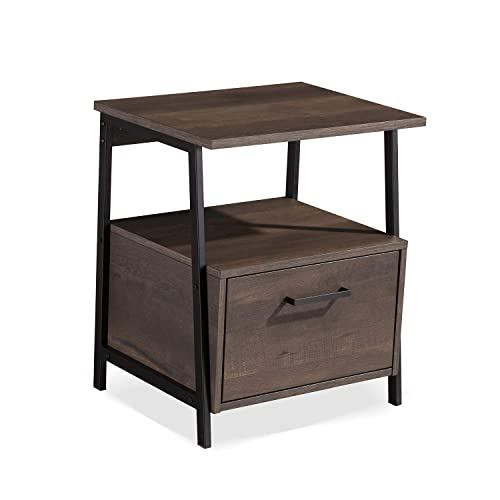 Sekey Home End Table Nightstand Accent Table with Storage Shelf and Drawer, Sturdy and Easy Assembly, Wood Look Accent Furniture with Metal Frame, Smoky Oak