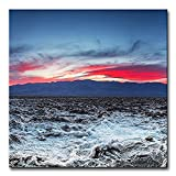 Fun Square Sunset Red Clouds Badwater Basin Salt Pans Death Valley Usa Landscape Desert Print On Canvas