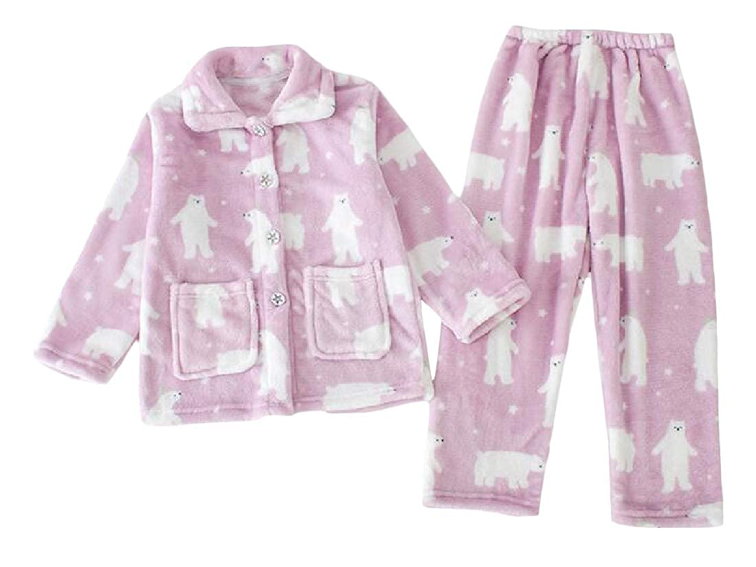 Bigbarry Big Girls Thick Lounge Print Flannel Cute Pajama Sets