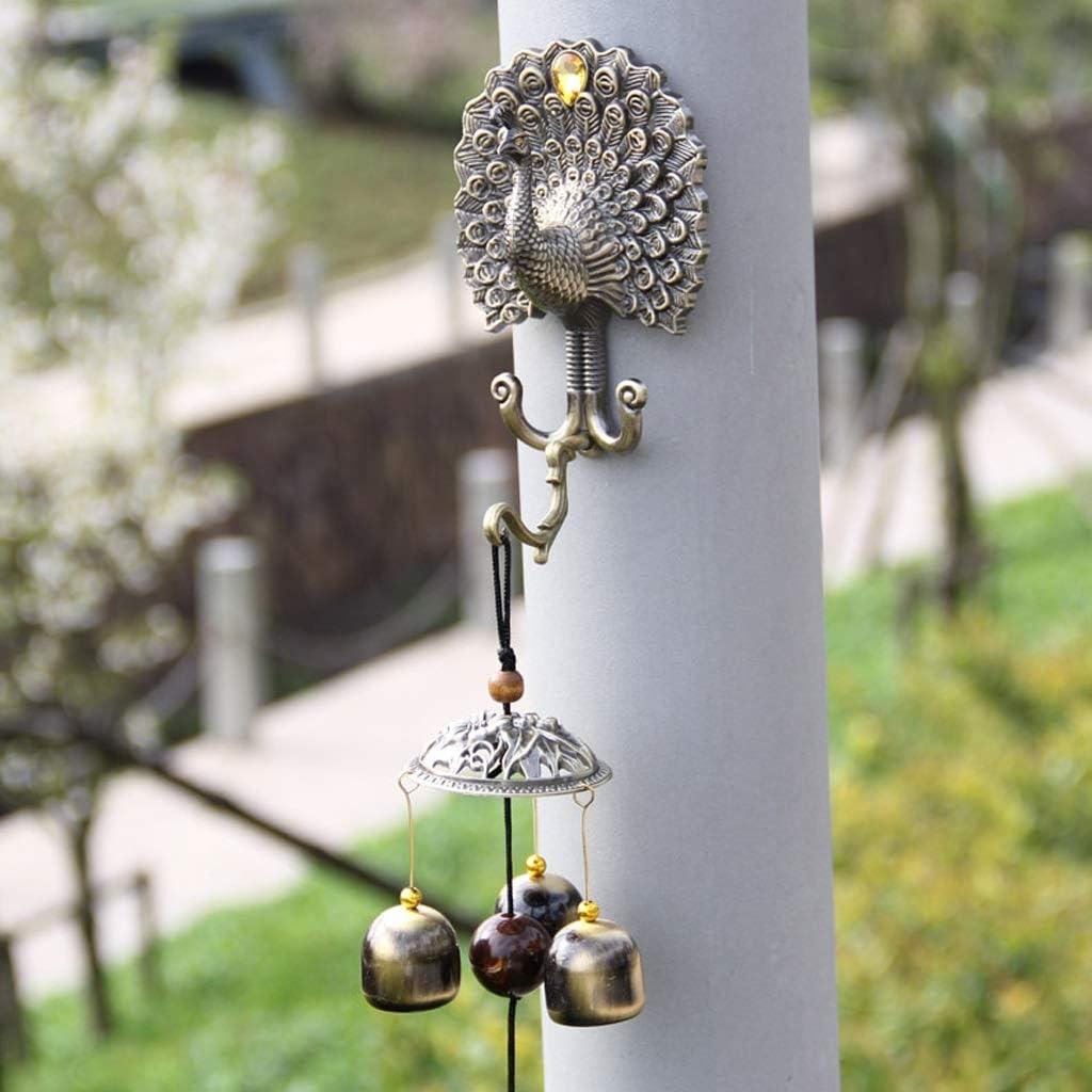 MKJYDM Pavo Real Campana de Cobre Campanas de Viento Tienda de Metal decoración del hogar decoración de la Puerta Regalo de cumpleaños Creativo 39x6 cm Timbre de Hierro Fundido