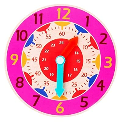 B2Compus Children Montessori Wooden Clock Toys Hour Minute Second Cognition Colorful Clocks: Home & Kitchen