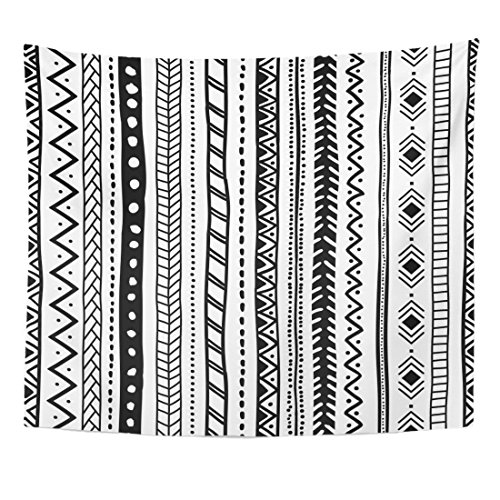 TOMPOP Tapestry Abstract Ethnic Orientation Black and White Tribal Aztec Motifs Home Decor Wall Hanging for Living Room Bedroom Dorm 50x60 Inches