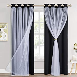 PONY DANCE Curtains for Living Room - Blackout Curtains and White Sheer Overlay Light Blocking Curtains for Bedroom with Free Tiebacks, cortinas para sala modernas (52x84 inches, Black, 2 Pieces)