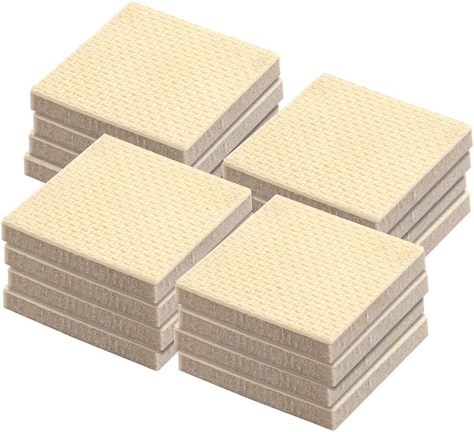 Prime-Line MP76727 Heavy-Duty Non-Slip Furniture Pads, 1/4 in. Thick x 2 in. x 2 in. Squares, Self-Adhesive Backing, Beige Felt w/Rubber, Pack of 16